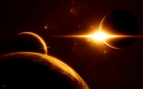 Wallpaper infinity, planet, star, space, prostranstvo, spaceship