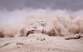 Picture Dust, BMW, Jeep, Lights, Dakar, Dakar, Rally, The front, The veil