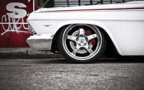 Picture white, tuning, Chevrolet, Chevrolet, drives, classic, chrome, tuning, the front, Impala, Impala