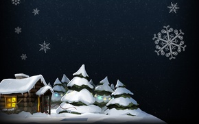 Picture winter, snow, snowflakes, house, tree, steam, pation