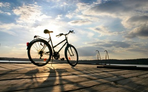 Picture sea, the sky, water, the sun, clouds, trees, bike, background, widescreen, Wallpaper, mood, foliage, sport, …