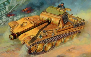 Picture war, art, painting, tank, ww2, Pz.Kpfw. V Panther Ausf. G