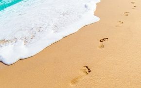 Picture sand, sea, beach, summer, foam, traces, beach, sea, sand, footprints