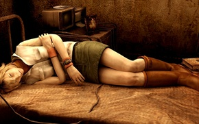 Picture bed, sleep, horror, Heather, Silent Hill 3