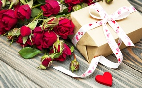 Picture love, flowers, gift, romance, roses, bow, romantic, Valentine's Day