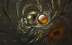 Picture wave, grey, background, pattern, round, petals