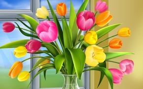 Wallpaper window, tulips, vase
