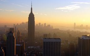 Picture Sunset, The sun, The sky, Clouds, Home, The evening, New York, The city, Panorama, Manhattan, ...