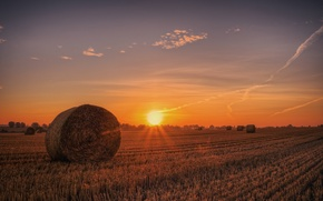 Wallpaper field, sunset, hay