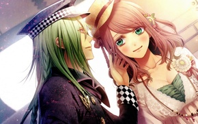 Picture smile, hat, beads, two, date, long hair, amnesia, heroine, ukyo, by mai hanamura