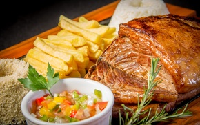 Picture meat, rosemary, appetizing, fries