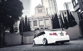 Picture the city, white, toyota, Toyota, camry, Camry, stance
