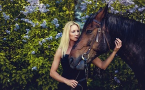 Wallpaper dress, horse, lilac, girl, foliage, the bushes, in black, blonde, garden, portrait
