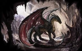 Picture dragon, wings, scales, cave, dragon, sunlight