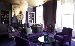 Picture purple, design, style, room, sofa, furniture, interior, pillow, chairs