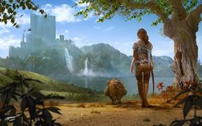 Picture girl, landscape, pig, Richard Sashigane