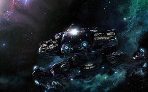 Wallpaper nebula, light, ship, stars