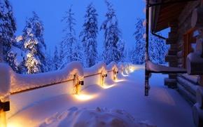 Picture winter, snow, trees, landscape, nature, house