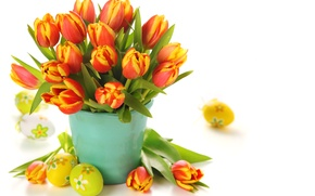 Picture flowers, eggs, bouquet, Easter, tulips, bucket