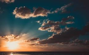 Picture the sky, the sun, clouds, sunset, the ocean, Cuba