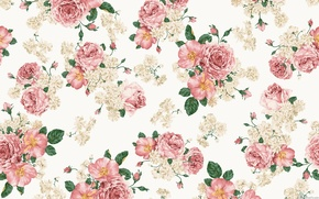 Wallpaper flowers, leaves, briar, roses, bouquet