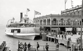 Picture retro, ship, pier, USA, Detroit, 1898-the year