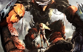 Wallpaper art, giant, Fantasy, Warrior, Women