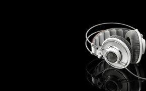 Picture reflection, headphones, black background