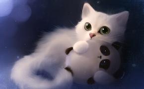 Picture cat, toy, art, Panda, apofiss