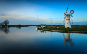 Picture the sky, boat, yacht, channel, windmill