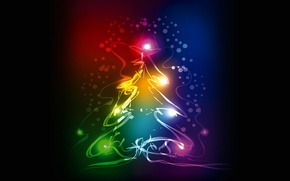 Picture tree, colors, New Year, Christmas, christmas, tree, neon, xmas