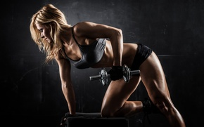 Wallpaper women, pose, workout, fitness, gym, dumbbell