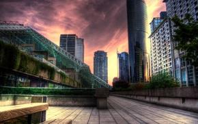 Wallpaper building, skyscrapers, sunset