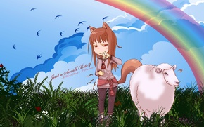 Picture the sky, grass, rainbow, tail, ears, sheep, grin, Spice and wolf, Holo, Spice and wolf, …