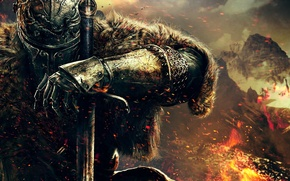 Picture hand, warrior, helmet, fur, armor, knight, Namco Bandai Games, Dark Souls 2, From Software, Dark …
