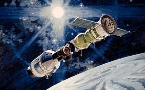 "Picture ""handshake in space"", Experimental flight, ""Soyuz-19"", Soyuz - Apollo, Apollo-Soyuz, Apollo"