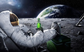 Picture space, earth, the moon, beer, astronaut, astronaut, carlsberg