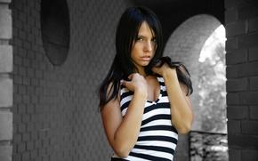 Picture Girl, Look, Black and white, Brunette, Standing, Monika Vesela