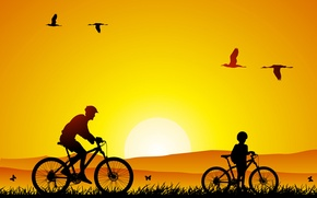 Picture nature, mood, mood, minimalism, walk, tiny, son, bikes, dad