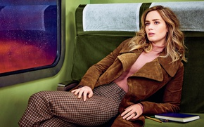 Picture pose, skirt, chair, makeup, pencils, actress, jacket, hairstyle, brown hair, notebook, photoshoot, Emily Blunt, Emily …