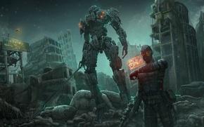 Wallpaper the city, fiction, robot, sword, art, ruins, cyborg