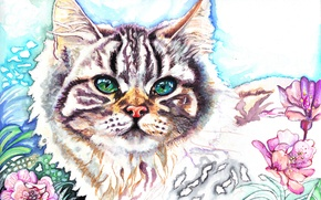 Wallpaper flowers, look, animal, painting, green eyes, muzzle, Christina Papagianni, ears, cat