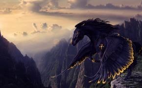 Picture look, rendering, wings, mane, black horse