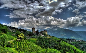 Picture mountains, castle, Italy, panorama, Italy, South Tyrol, South Tyrol, Trentino-Alto Adige, the village of Tirolo, …