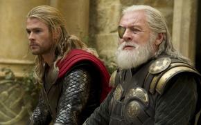 Picture comic, Thor, Chris Hemsworth, Chris Hemsworth, Anthony Hopkins, Anthony Hopkins, Odin, Thor 2: the dark …
