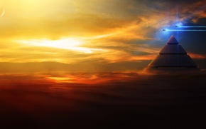 Picture in the sky, ships, flight, art, pyramid, clouds, sunset