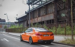 Picture road, car, the fence, post, BMW, lantern, orange, 3D Design, machne