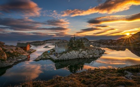 Picture sea, the sky, clouds, sunset, coast, Norway, houses, Norway, Rogaland, Løyning