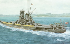 Picture ship, art, Navy, military, battleship, Japanese, battleship, WW2, IJN, Musashi