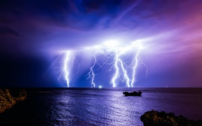 Picture the storm, night, clouds, storm, nature, the ocean, lightning, Australia